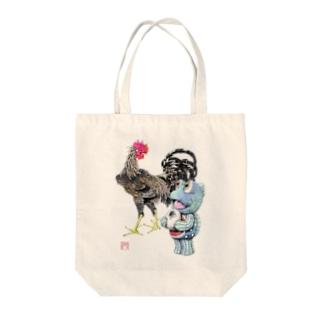 魚植綵絵〜雄鶏陸吾郎図 Tote bags
