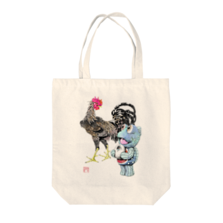 有明ガタァ商会の魚植綵絵〜雄鶏陸吾郎図 Tote bags