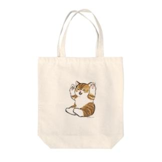 喜ぶ猫 Tote bags