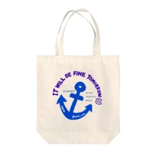ぽこにゃんと海 Tote bags