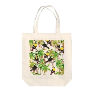 鳥(サンショクキムネオオハシ) Tote bags