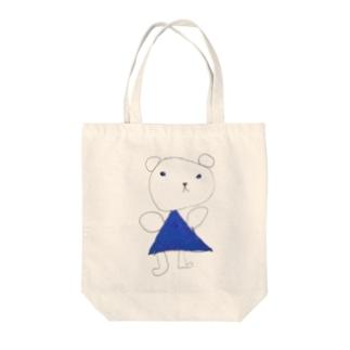 くまちゃん~青いお出かけ服~ Tote bags