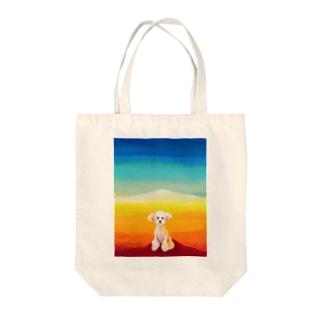 風景 プードル Tote bags
