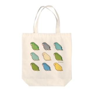 サザナミインコ集合トートバッグ Tote bags