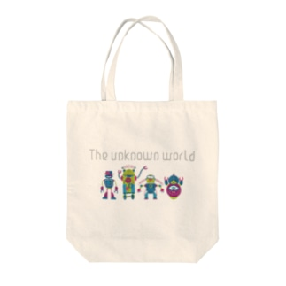 the unknown world Tote bags