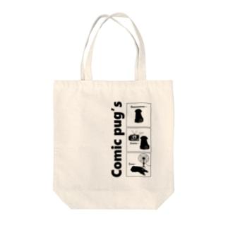Comic pug's Tote bags