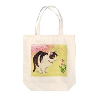雪猫@LINEスタンプ発売中のミゥちゃん春見つけたよ Tote bags