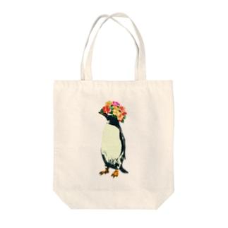 flower penguin Tote bags