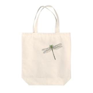 オニヤンマ 色鉛筆画 Tote bags