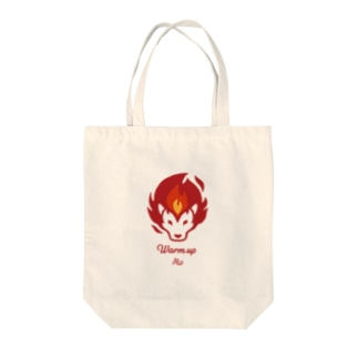 ウォームアップ ライオン Tote bags