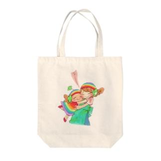 オリジナルキャラ「ハッピーちゃん」ぎゅぅ〜 Tote bags