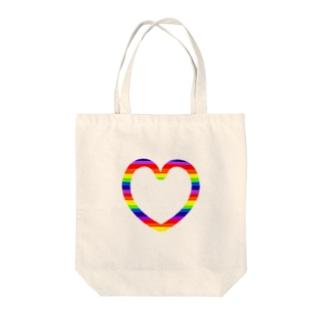 レインボーハート♡ Tote bags