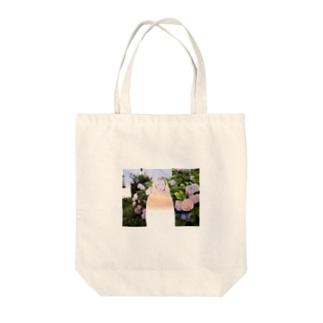 オオツキカエデの紫陽花と夕焼け Tote bags