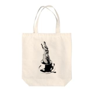 Crocochinno (Black) Tote bags