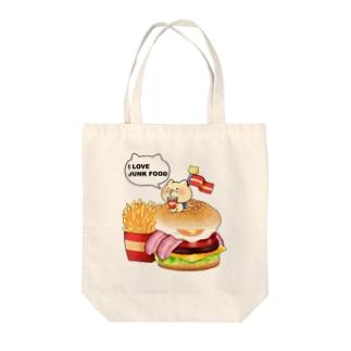 ねことハンバーガーセット Tote bags
