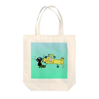 ネコとヒコーキ Tote bags
