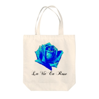 La Vie En Rose-Blue Tote bags