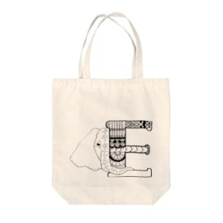 【alphanimal】E:elephant Tote bags