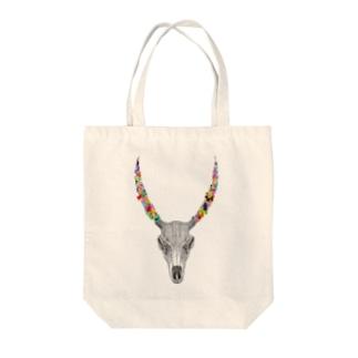カラフルなツノの動物の骨 Tote bags