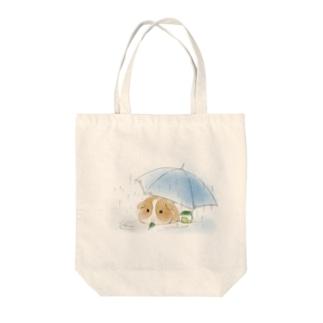 モルモットと傘(白) Tote Bag
