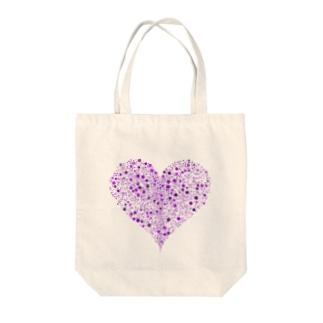 Dots Heart(Purple) Tote bags