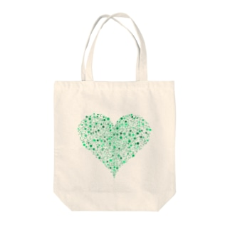 Dots Heart(Green) Tote bags