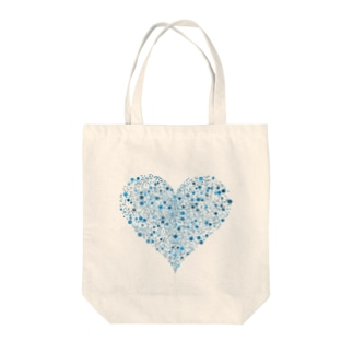 Dots Heart(Blue) Tote bags