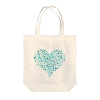 Dots Heart(Turquoise) Tote bags