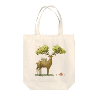 Apple deer Tote bags