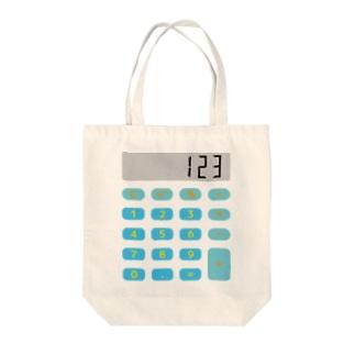 電卓ブルー Tote bags