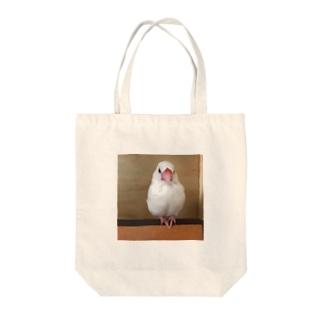 白文鳥のおもちさん Tote bags