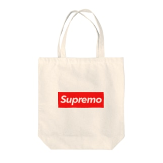 Supremo red Tote bags