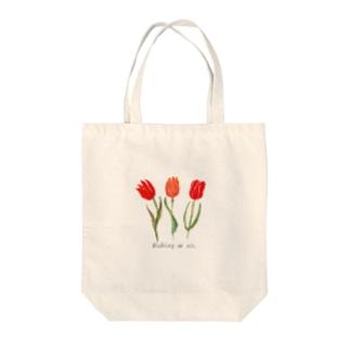チューリップ 水彩 いつもありがとう グッズ Tote bags