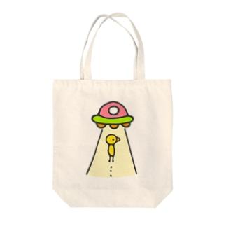 ひよこUFO peach Tote bags