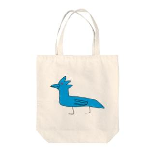 変な青いトリ Tote bags