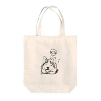 スリーピングコーギー Tote bags