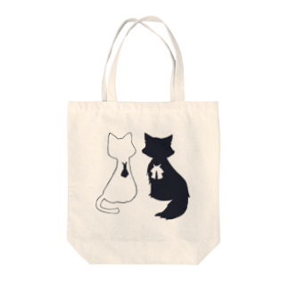 ちまとりーのねこ(白と黒) Tote bags