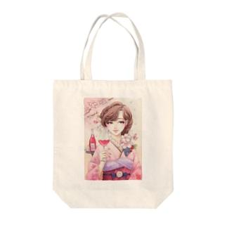 ワイン女子・桜 トートバッグ
