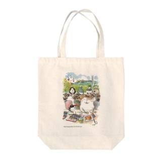水彩イラストDiary Tote bags