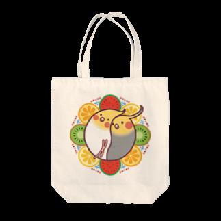 オカメインコのほほらら工房 SUZURI支店の【オカメインコ】フルーツオカメズトートバッグ