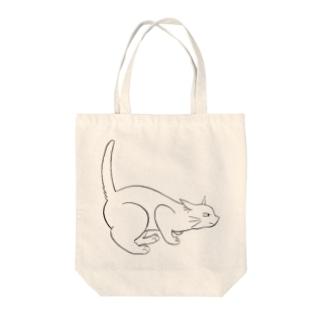よこむき白ねこT Tote bags