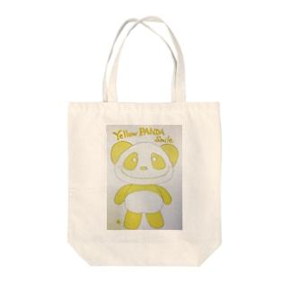 イエローパンダスマイル Tote bags