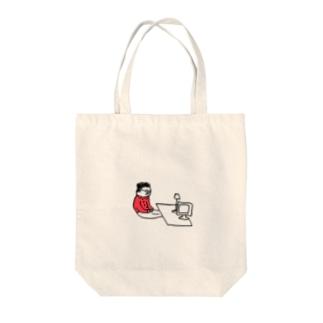 パソコンとおじさん Tote bags