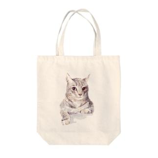 百合の筆のそんなにみつめないで!ドキドキしちゃうから♪かわいい猫のイラスト Tote bags