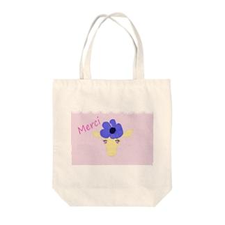 レース模様花飾りのキリングッズ トートバッグ