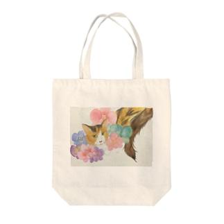 わたしのにゃん子(ミケ猫) Tote bags