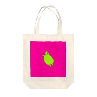 カメシルエット(黄緑×濃ピンク) Tote bags