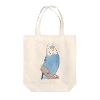 セキセイインコちゃんと止まり木【まめるりはことり】 Tote bags