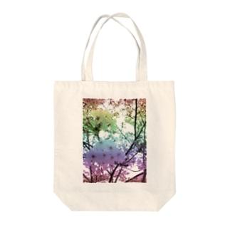 Colorful Photo(SAKURA) Tote bags