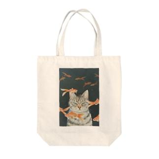 金魚と猫 Tote bags